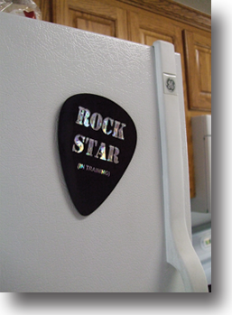 Rock Star Giant Guitar Pick on Refrigerator